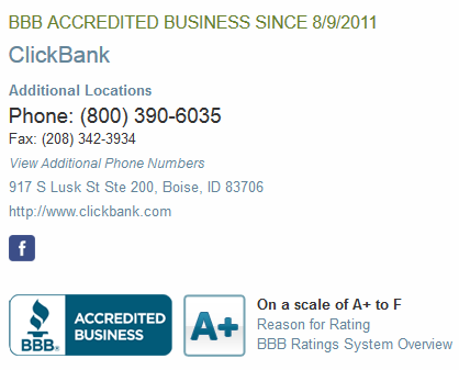 Clickbank BBB rating